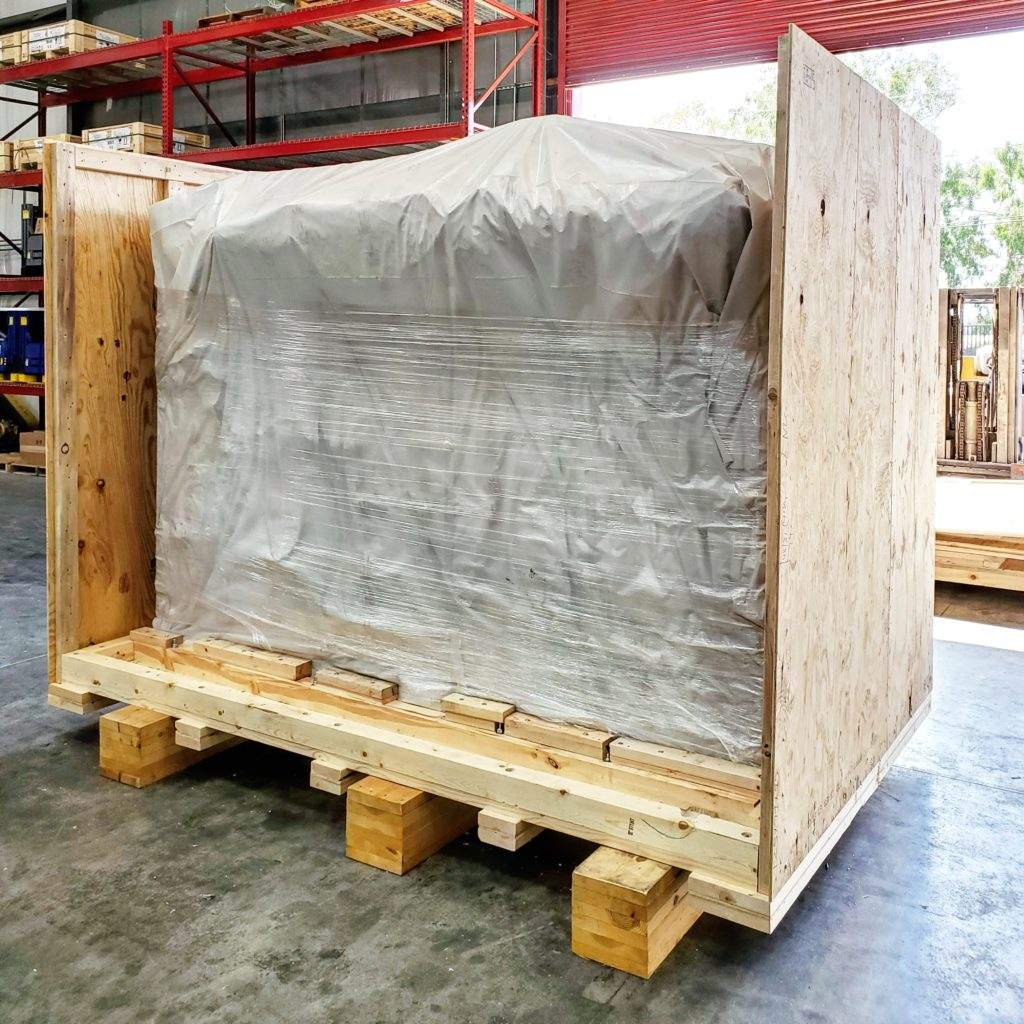 Shipping wood crate on sit crating